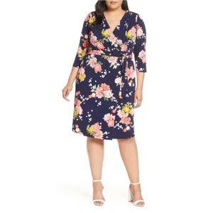 NEW Eliza J Floral Midi Faux Wrap Dress Plus Size